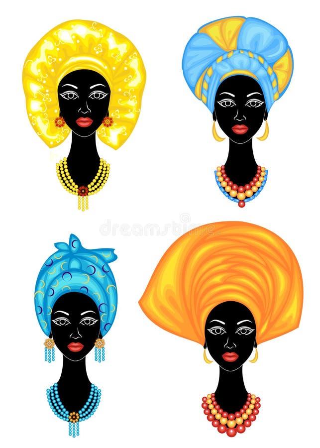accumulazione Siluetta di una testa di una signora dolce Uno scialle luminoso, un turbante ? legato sulla testa di una ragazza af illustrazione vettoriale