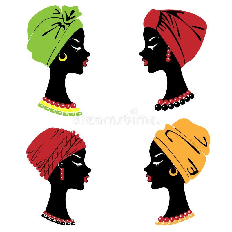 accumulazione Siluetta di una testa di una signora dolce Uno scialle luminoso, un turbante ? legato sulla testa di una ragazza af royalty illustrazione gratis