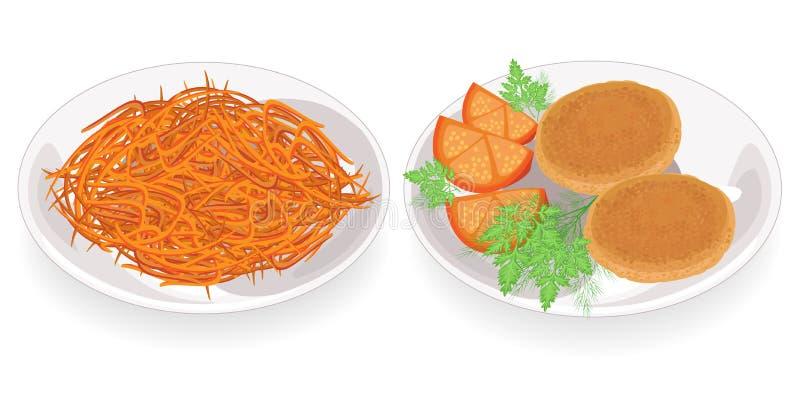 accumulazione Tortini fritti su un piatto Un piatto con Morkwi coreano Decori con i pomodori, l'aneto ed il prezzemolo Delizioso, illustrazione di stock