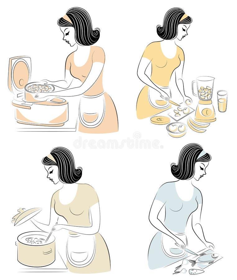accumulazione Una bella ragazza prepara l'alimento in un fornello lento, rende a succo un miscelatore, verdure dei tagli in un'in illustrazione di stock