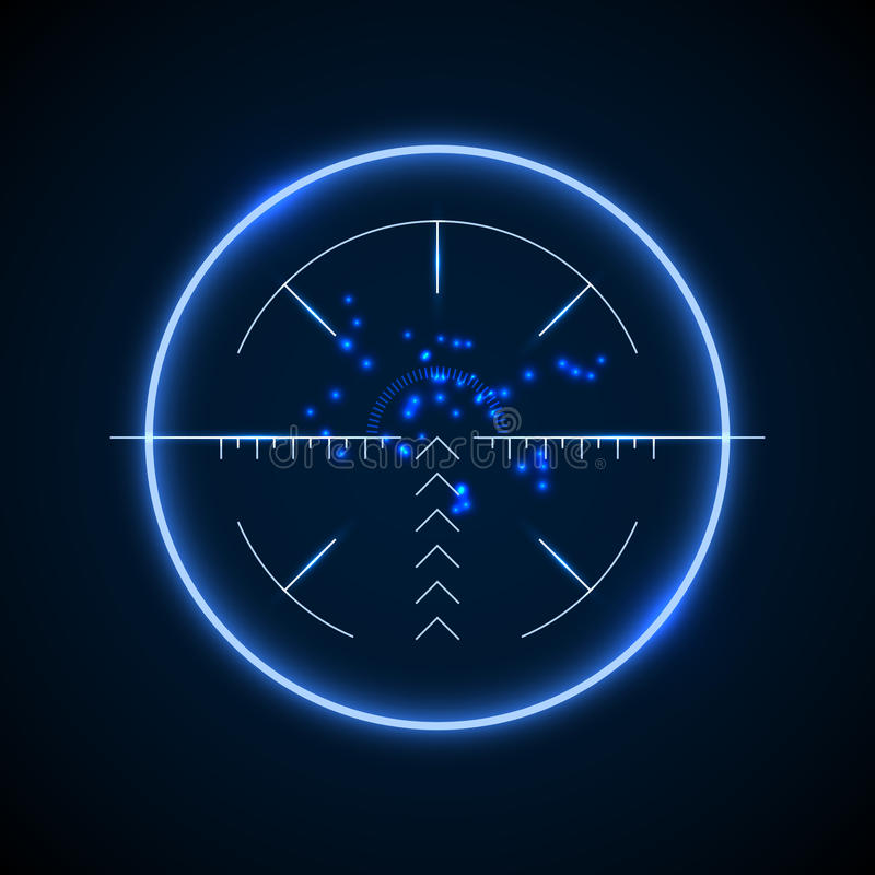 Accurate sniper scope, neon luminous target vector illustration. Military aiming and targeting optical royalty free illustration