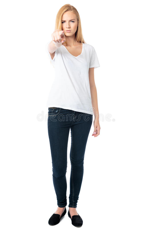 Accusatory woman pointing at the camera. Accusatory woman pointing her finger at the camera with a stern determined expression as she seeks to lay blame on royalty free stock photos