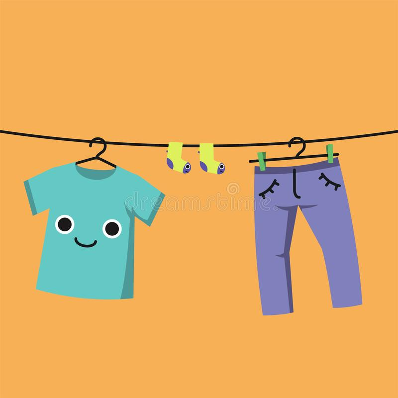 Smiling Baby clothes on clothes line, Habituate kid card. vector illustration