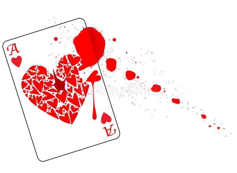 Ace av hjärtor med blod stock illustrationer