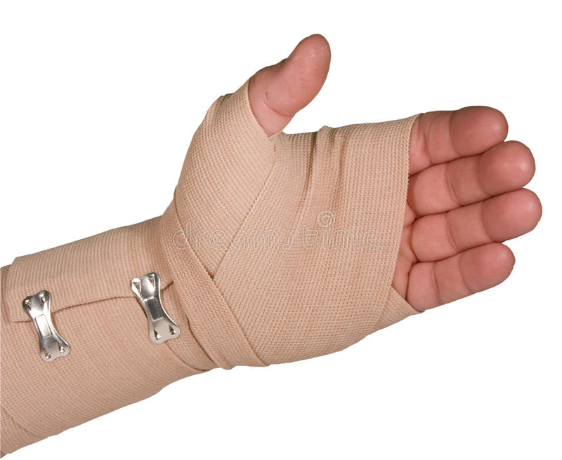 Ace bandage on left hand with path isolated royalty free stock photography