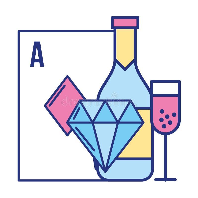 Ace card diamond bottle cup poker casino game stock illustration