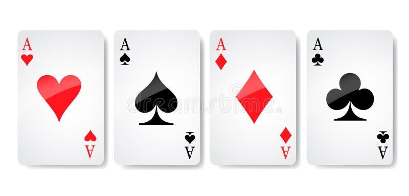 Ace carda el vector del icono del traje, vector de los símbolos de los naipes, fijó el traje del símbolo del icono, muestra del i stock de ilustración