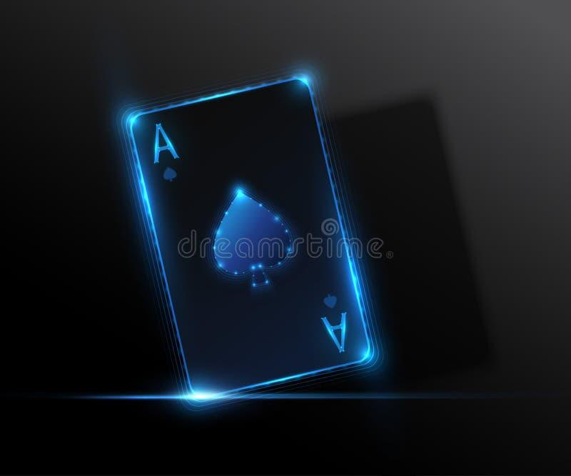 Ace carda, ilustração do casino do pôquer Gráfico de vetor ilustração stock