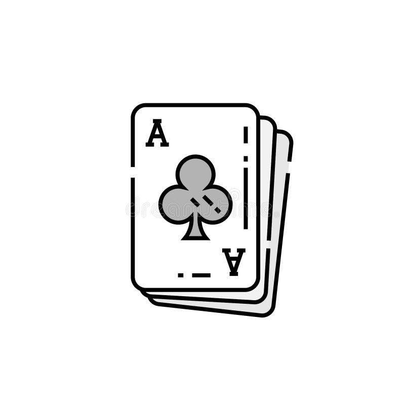 Ace da linha ícone do cartão dos clubes ilustração royalty free