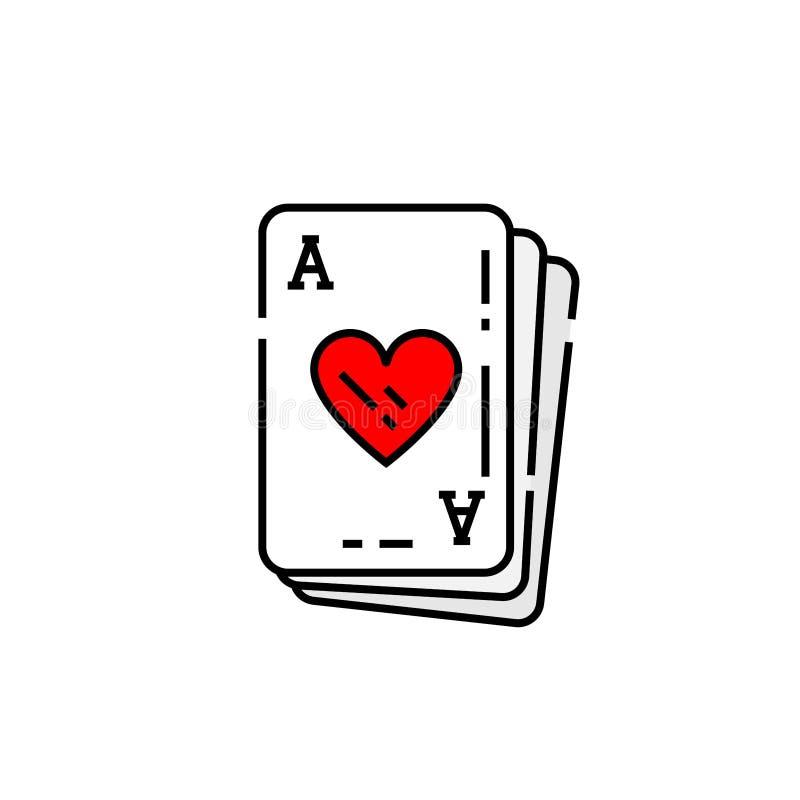 Ace da linha ícone do cartão dos corações ilustração do vetor