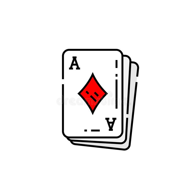 Ace da linha ícone do cartão dos diamantes ilustração stock