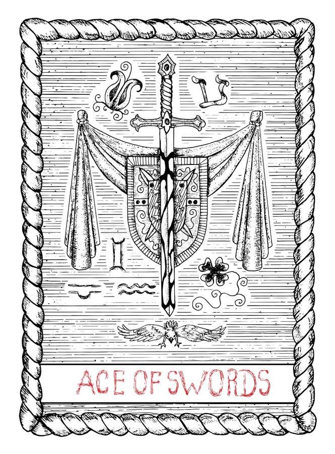 Ace das espadas O cartão de tarô ilustração do vetor