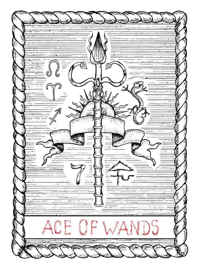 Ace das varinhas O cartão de tarô ilustração do vetor
