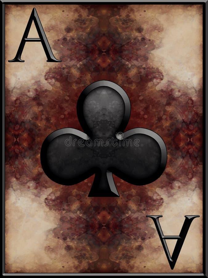 Ace de clubes ilustração royalty free