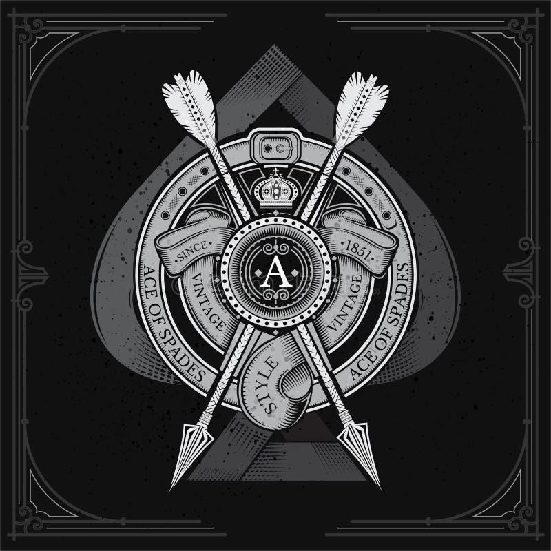 Ace de espadas con el escudo redondo y la flecha cruzada, cintas en marco redondo de la correa Escritura de la etiqueta heráldica stock de ilustración