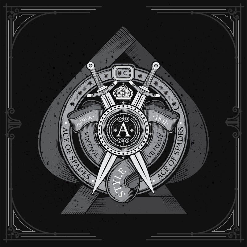 Ace de espadas con el escudo redondo y las espadas cruzadas, cintas en marco redondo de la correa Escritura de la etiqueta heráld ilustración del vector