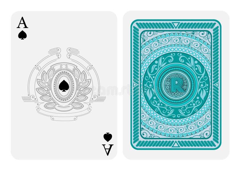 Ace de espadas hace frente con las espadas dentro del escudo y de la guirnalda abstracta y detr?s con colores azules alrededor de ilustración del vector