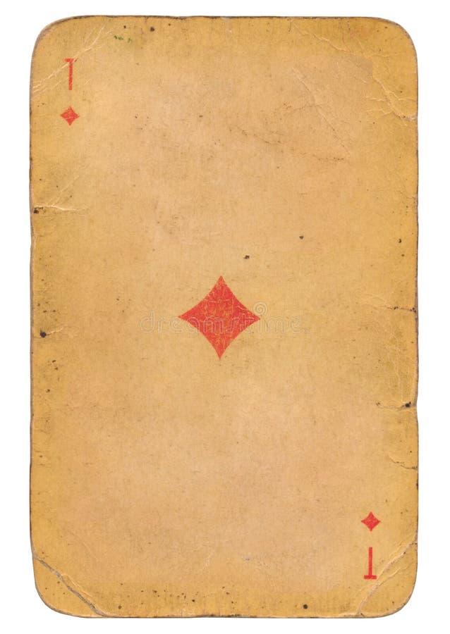 Ace de vieille carte de jeu soviétique grunge de style de diamants photo stock
