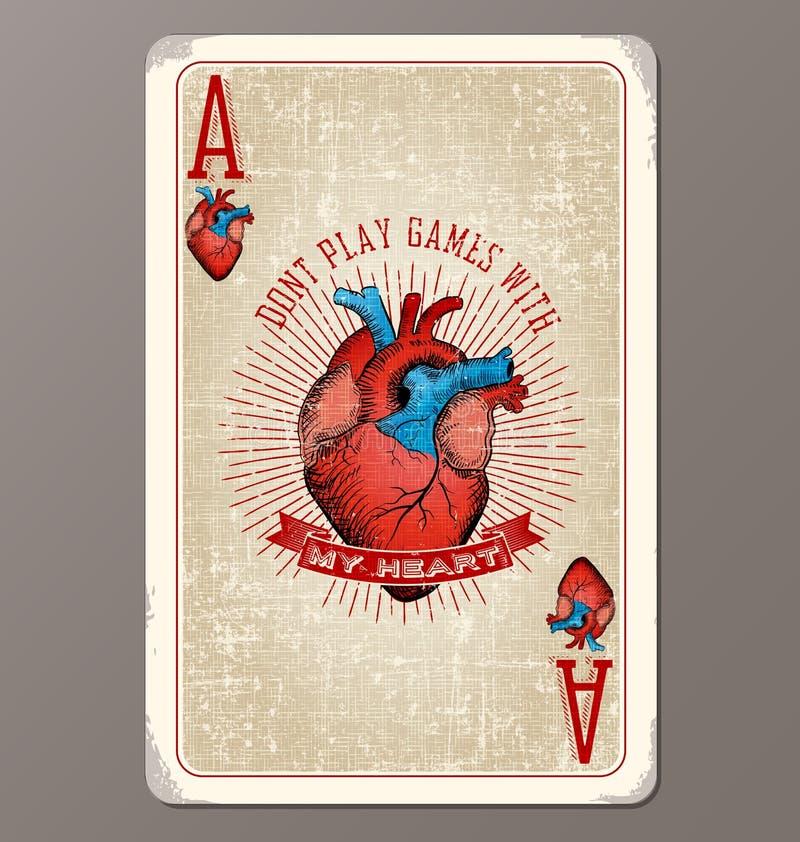 Ace de vintage de coeurs jouant la carte avec l'illustration humaine de coeur illustration stock