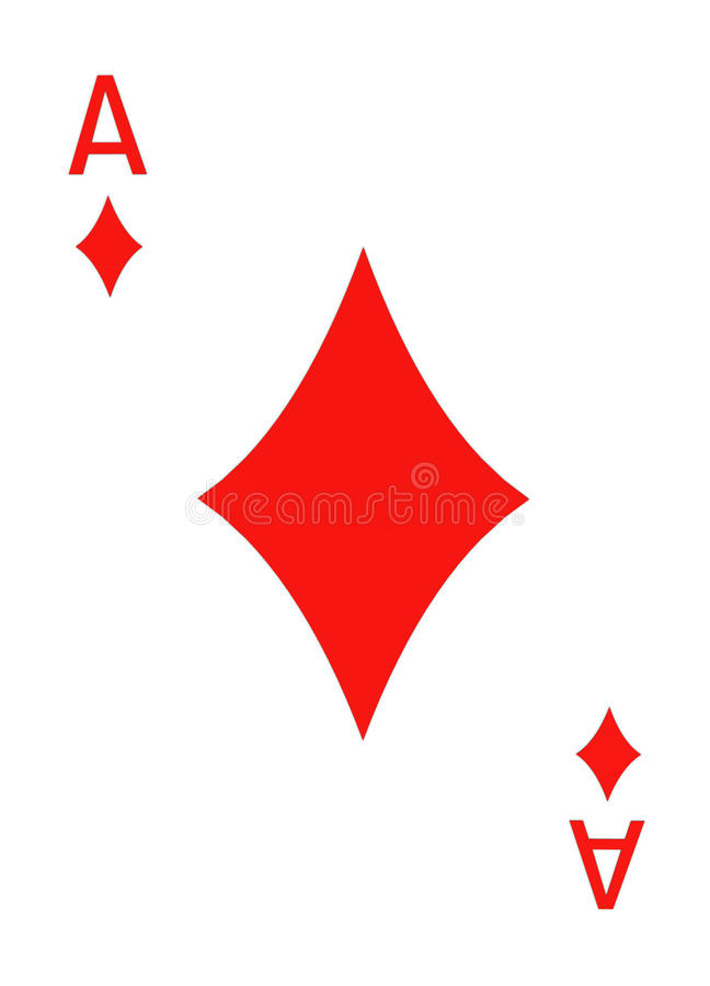 Ace of Diamonds Isolated on White - 3D. Rendering stock illustration