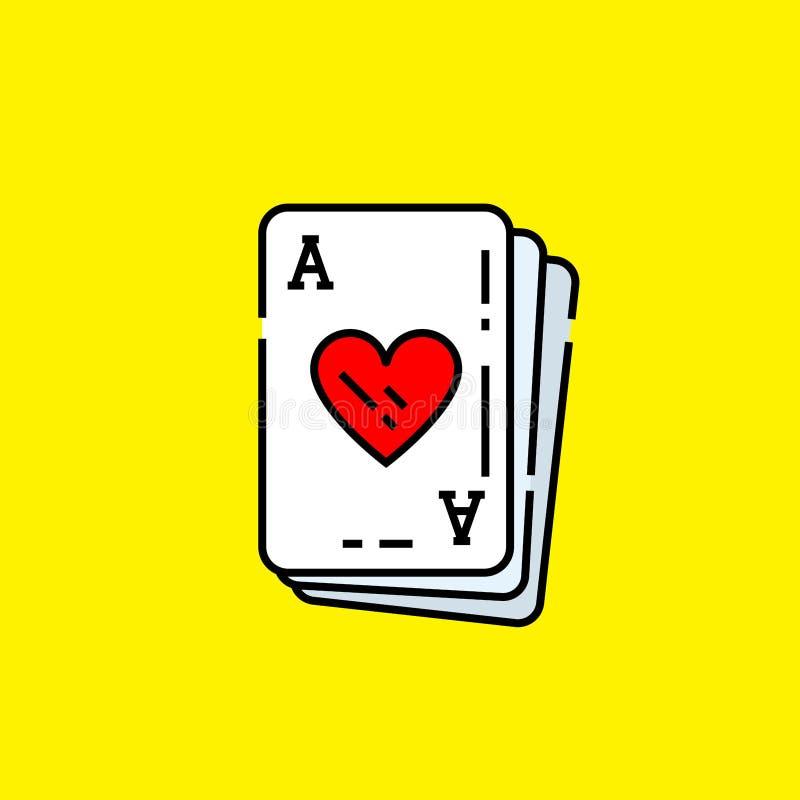 Ace do ?cone do cart?o dos cora??es ilustração royalty free