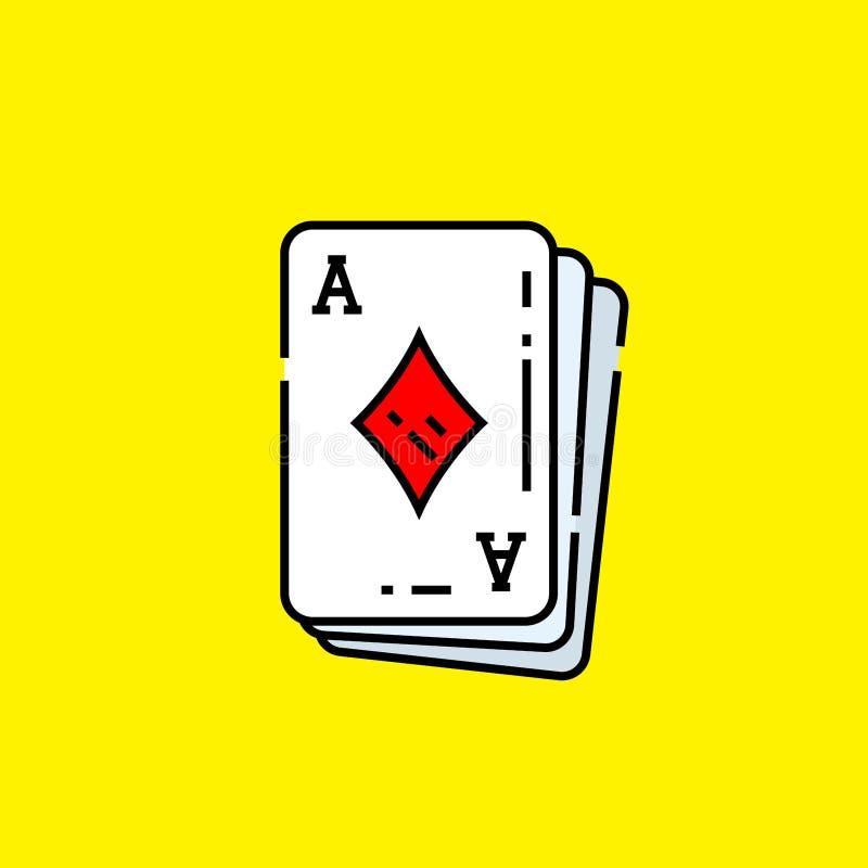 Ace do ?cone do cart?o dos diamantes ilustração royalty free