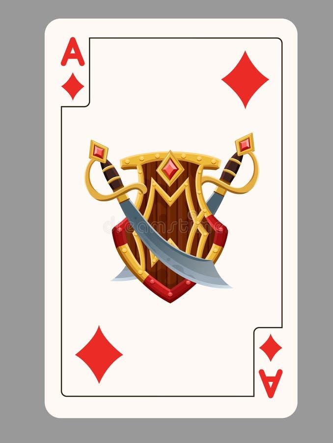 Ace do cartão de jogo dos diamantes ilustração royalty free