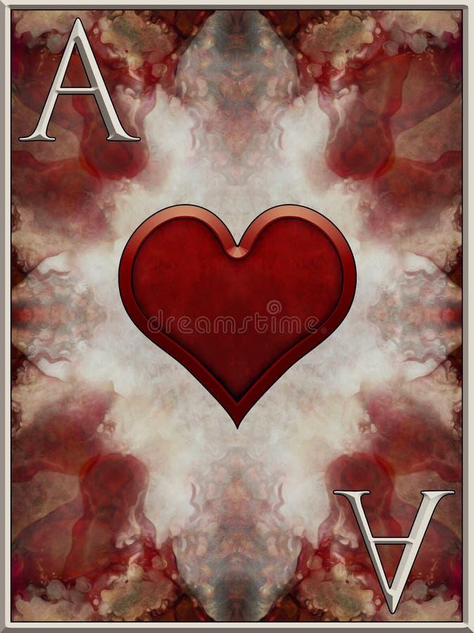 Ace do cartão dos corações ilustração royalty free