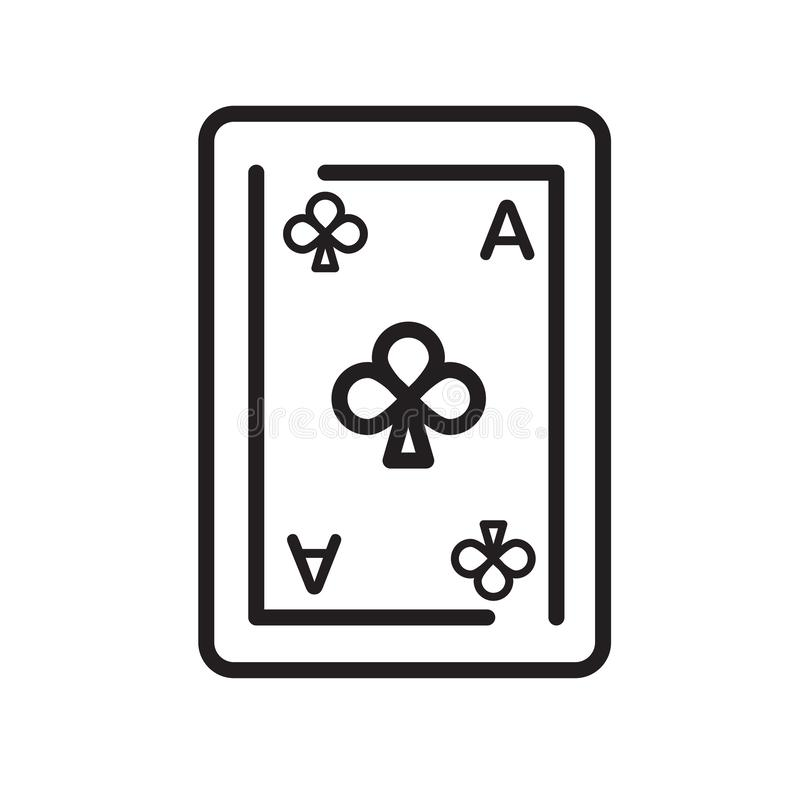Ace do sinal e do símbolo do vetor do ícone dos clubes isolado no backg branco ilustração royalty free