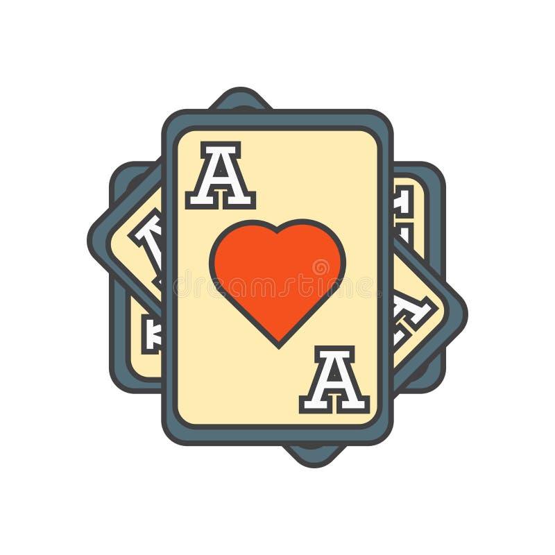 Ace do sinal e do símbolo do vetor do ícone dos corações isolado no fundo branco, Ace do conceito do logotipo dos corações ilustração royalty free