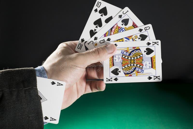 Ace en el agujero, el concepto del póker para el éxito empresarial y la competencia foto de archivo
