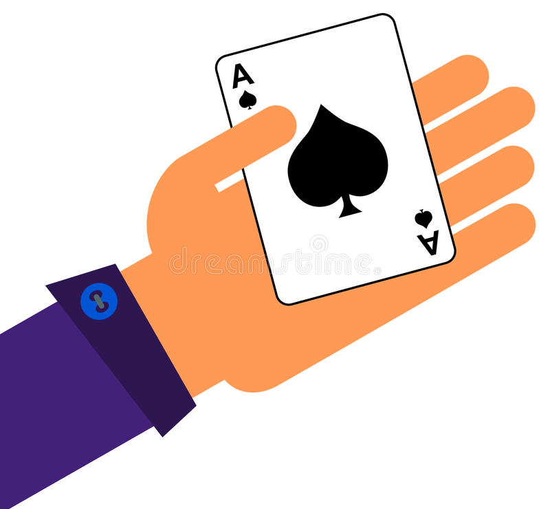 Ace in a hand. Illustration of a hand holding an ace of spade card stock illustration