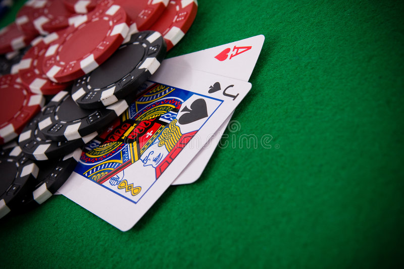 Ace of hearts and black jack royalty free stock photography
