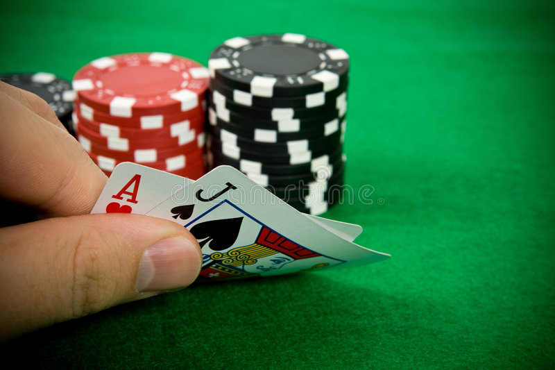 Ace of hearts and black jack stock images