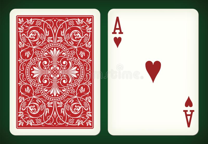 Ace of hearts - playing cards vector illustration. Ace of hearts and closed red playing card on green back - vector illustration stock illustration