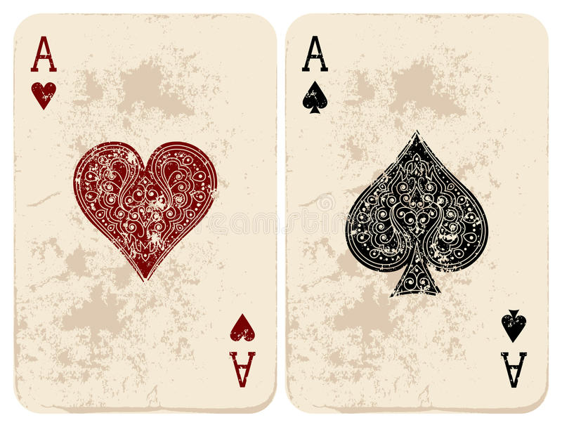 Ace of Hearts & Spades. Vector illustration. Ace of Hearts & Spades stock illustration