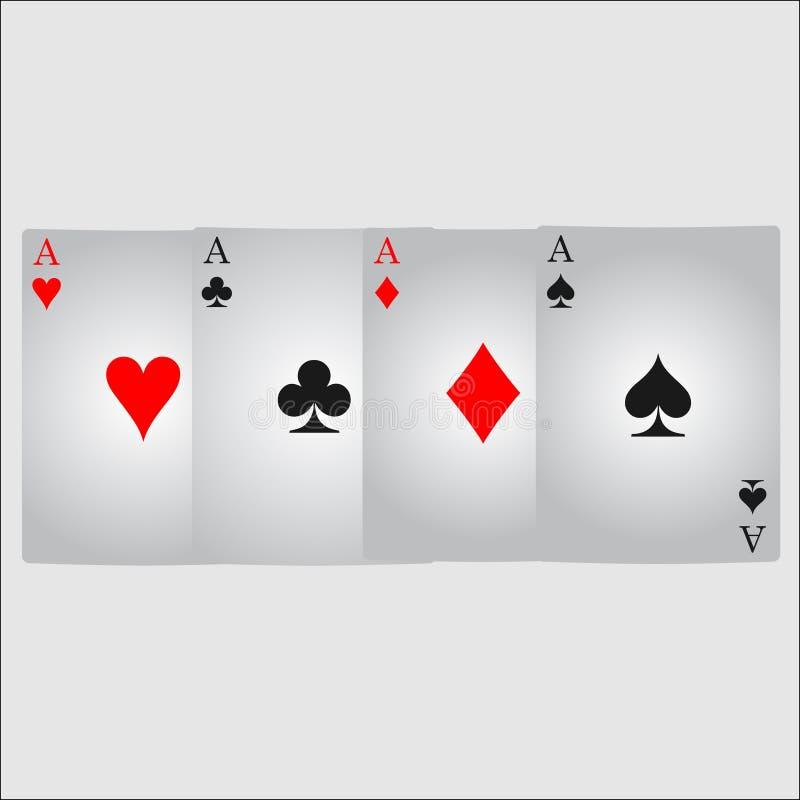 Ace-het pictogramvector van het kaartkostuum, kostuum van het het pictogramsymbool van speelkaartensymbolen het vector, vastgeste royalty-vrije illustratie
