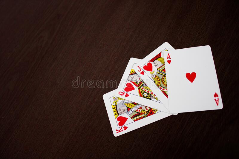 Ace, Jack, Queen and King of Hearts stock image