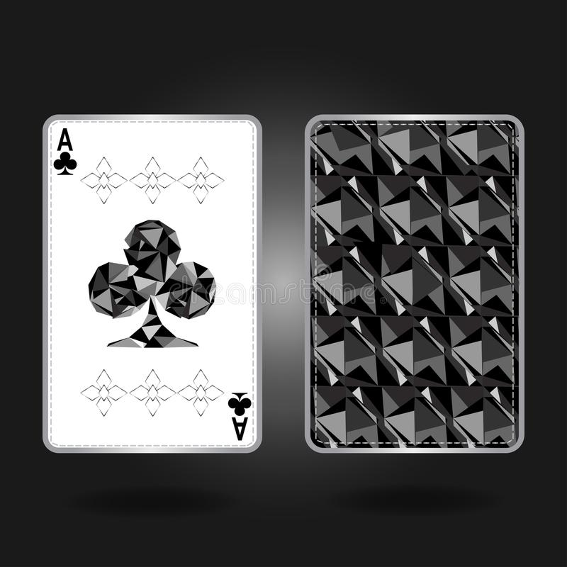 Ace met specifiek ornament en zilveren overzicht, achtergevel Vector illustratie stock illustratie