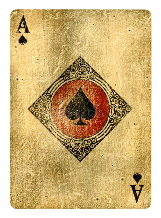 Free Ace Of Spades Vintage Playing Card Isolated On White Royalty Free Stock Image - 161057556