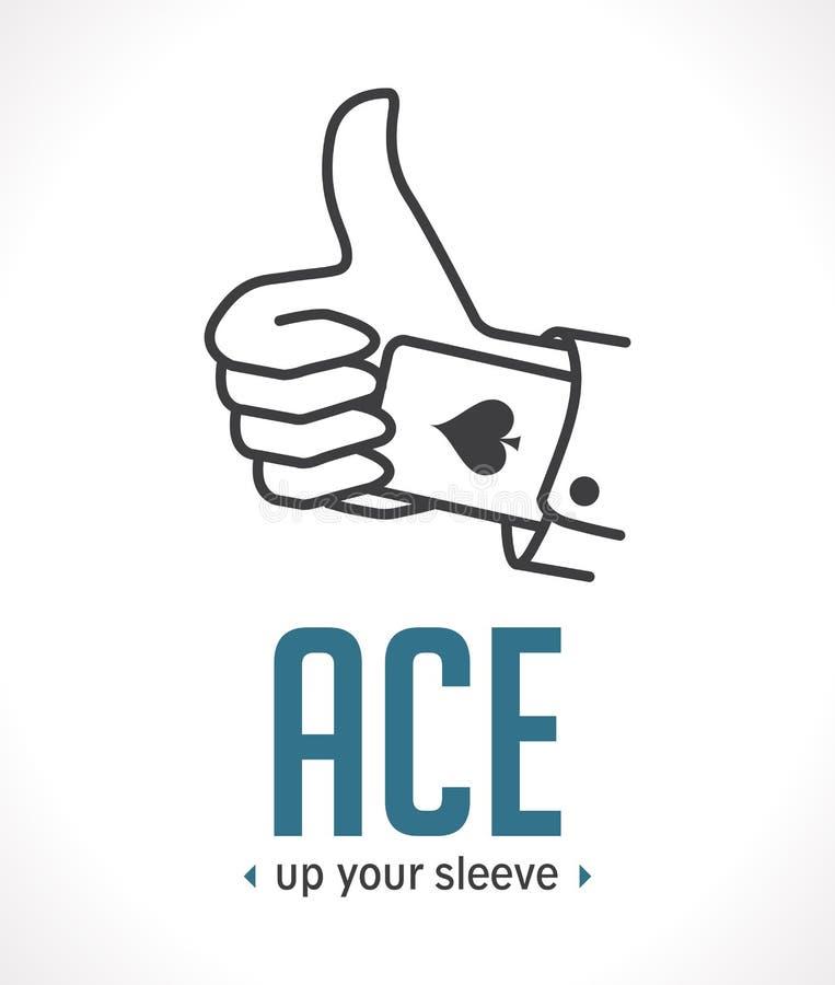 Ace omhoog uw koker - belangrijkste beslissend argument royalty-vrije illustratie