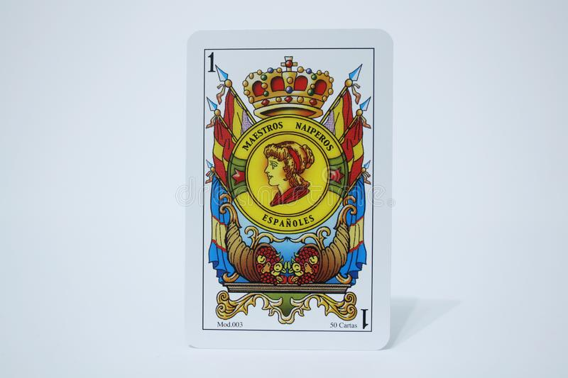 ACE OF OROS. Close view of the cards of the Spanish deck stock photography