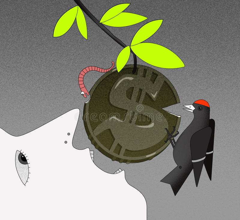Ace of a person in profile with an open mouth, tries to bite off the coin with a GBP sign on the branch. The face of a person in profile with an open mouth royalty free illustration