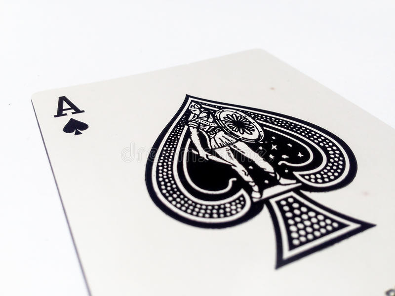 Ace Pikes / Spades Card with White Background. A playing card is a piece of specially prepared heavy paper, thin cardboard, plastic-coated paper, cotton-paper royalty free stock photo