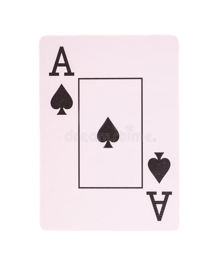 Ace-Pokerkarte von den Spaten lokalisiert stockbilder