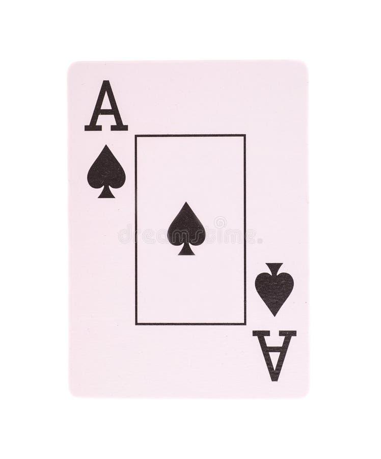 Ace-pookkaart van geïsoleerde spades stock afbeeldingen