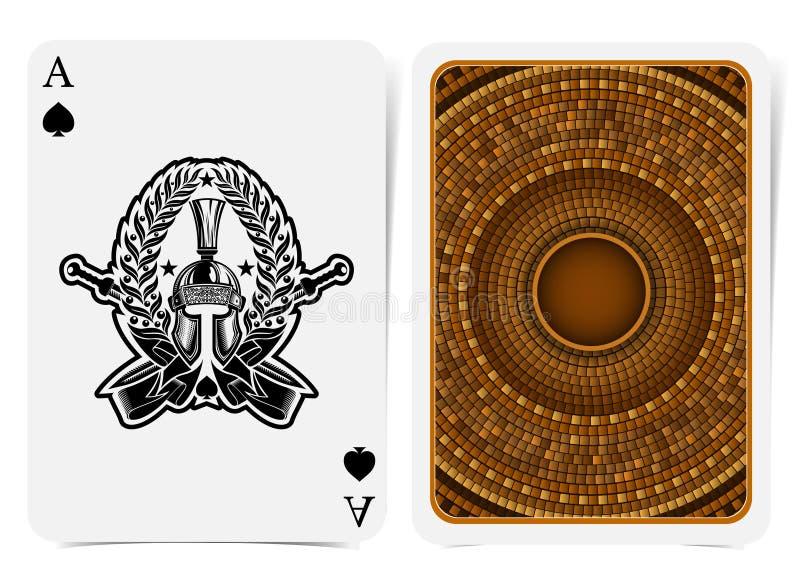 Ace rydle stawia czo?o z wojownika he?mem, popiera z z?otym dach?wkowym round wzoru kostiumem i faborkiem i kordzikami w?rodku wi royalty ilustracja