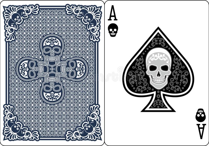 Ace of spades. With skull royalty free illustration