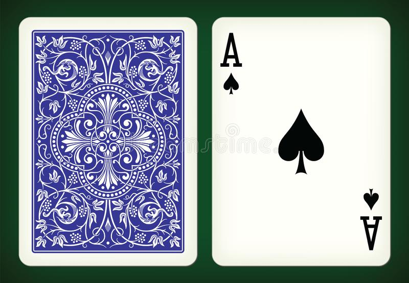 Ace of spades - playing cards vector illustration. Ace of spades and closed blue playing card on green back - vector illustration stock illustration