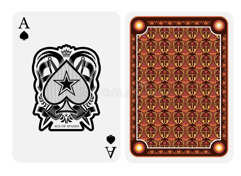 Ace of spades face with crossed flags and swords and back with modern geometrical texture on suit. stock illustration